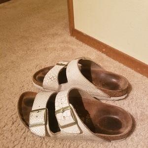 Birkenstock Sandals 38 Arizona Merimad Pearl White